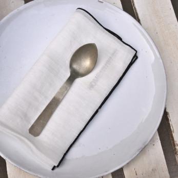 serviette de table en lin à larges rayures - VDJ HOME