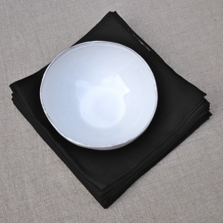 Serviette de table en lin fin noir - Serviette table lin ...