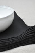 thick black linen towel - VDJ HOME