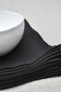 serviette de table en lin épais noir - VDJ HOME