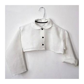 chemise col claudine destructurée, lin blanc