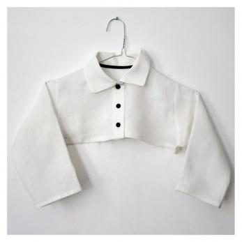 """chemise col mixte """"trop courte"""", lin blanc"""
