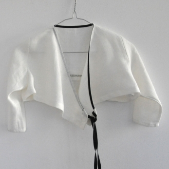Cache-coeur, lin épais blanc