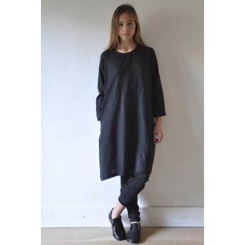 Robe évasée Uniforme, lin noir