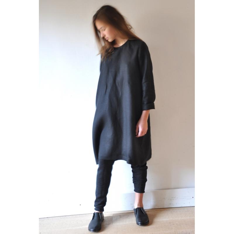 Uniform Flared Dress Long Sleeves Black Linen
