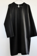 Uniform flared dress, black linen