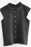 Chemise manches courtes Uniforme, lin noir
