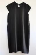 Robe évasée manches courtes Uniforme, lin noir