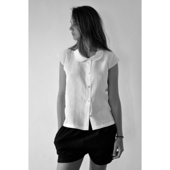 Uniform short sleeves shirt, white linen