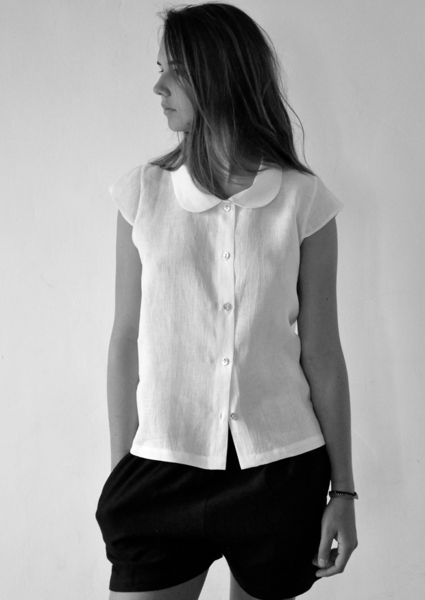 Uniform short sleeves shirt, white linen