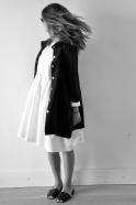 Uniform pleated long sleeves dress, white linen
