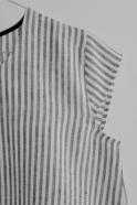 Blouse manches courtes Uniforme, lin rayures claires