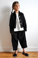 Uniform jacket, thick black linen