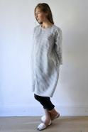 Uniform falred dress, light stripes linen