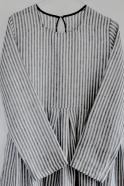 Robe à plis manches longues Uniforme, lin rayures claires