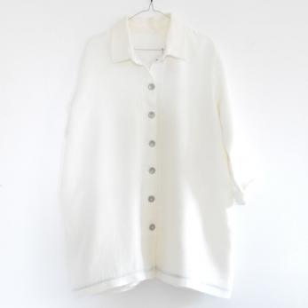 Manteau Uniforme, lin épais blanc