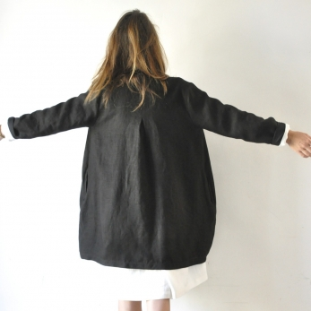 Uniform coat, thick black linen