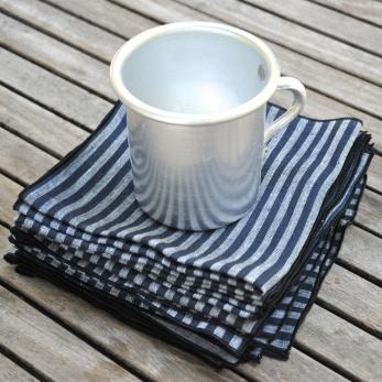 Towel in dark stripes linen - VDJ HOME