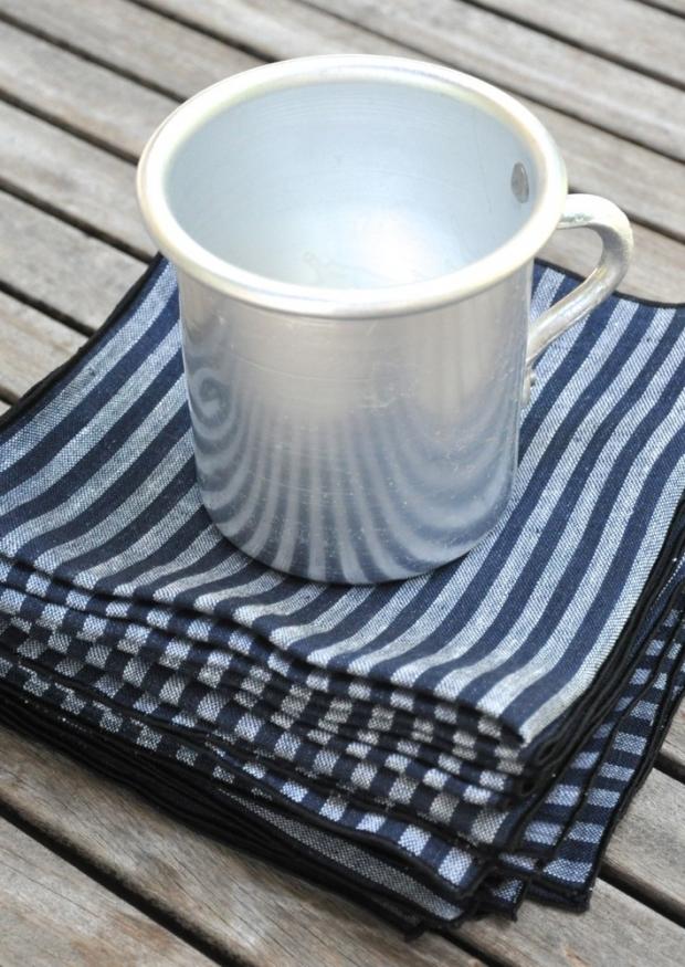 Serviette de table en lin rayures sombres - VDJ HOME