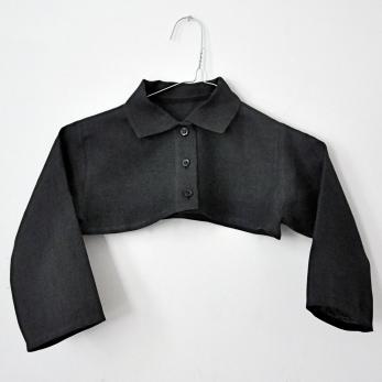 chemise col mixte «trop courte», lin gris sombre