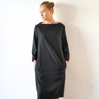 Deformed dress, grey woolblend