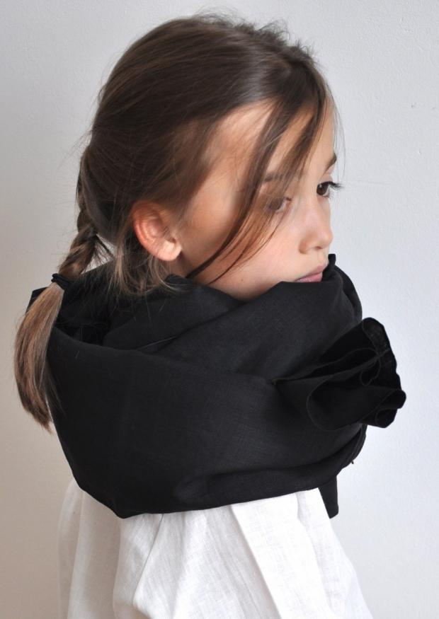 Echarpe, lin noir