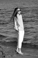 Pantalon Uniforme, lin blanc