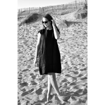Robe évasée Uniforme, manches courtes, lin noir