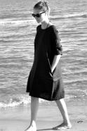 Uniform flared dress, long sleeves, black linen