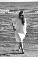 Uniform flared dress, long sleeves, white linen