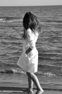 Robe évasée Uniforme, manches longues, lin blanc