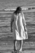 Robe évasée Uniforme, manches longues, lin rayures claires