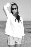 Uniform long sleeves blouse, white linen