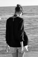Blouse manches longues Uniforme, lin noir