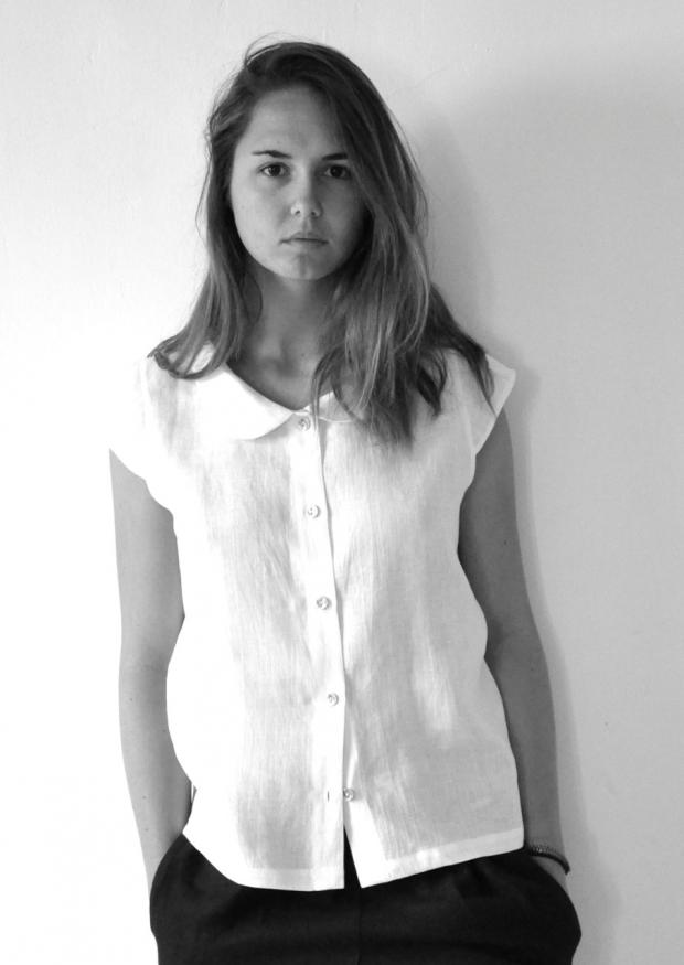 Chemise manches courtes Uniforme, lin blanc