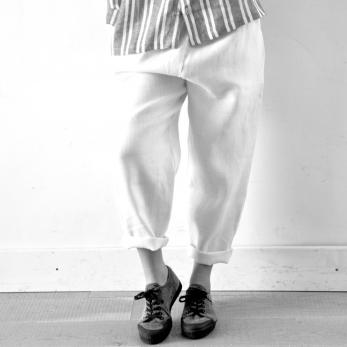 Pantalon Uniforme, lin épais blanc