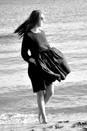 Uniform pleated long sleeves dress, black linen