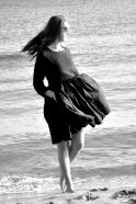 Robe à plis manches longues Uniforme, lin noir