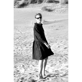 Uniform shirt-dress long sleeves, black linen