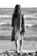 Robe évasée manches longues Uniforme, lin rayures sombres