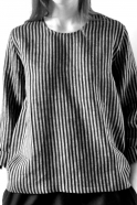 Blouse manches longues Uniforme, lin rayures sombres