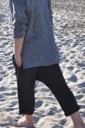 Shirt unisex, dark stripes linen