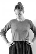 Uniform short pullover, light grey knit