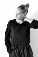 Uniform short pullover, black knit