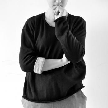 Unisex pullover, black knit