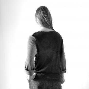 Blouse bicolor, light grey knit