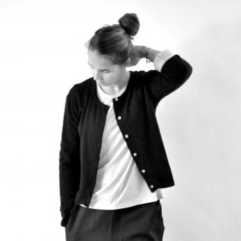 Uniform cardigan, black thick knit