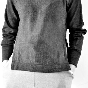 Pullover open, dark grey knit