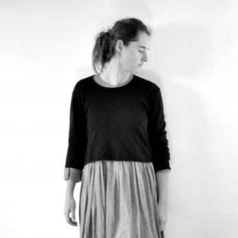 Uniform short pullover, black thick knit