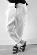 Uniform straight trousers, white linen